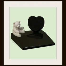 Black granite desk tablet heart and marble bear
