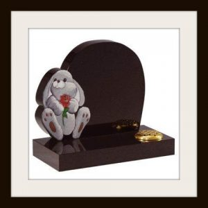 Black granite with rabbit design