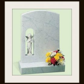 Marble oval top headstone and figure